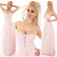 FLOOR-LENGTH BANDEAU EVENING DRESS WITH CHIFFON VEIL PINK
