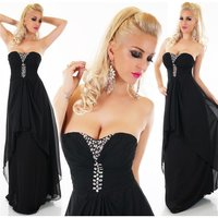 FLOOR-LENGTH BANDEAU EVENING DRESS WITH CHIFFON VEIL BLACK