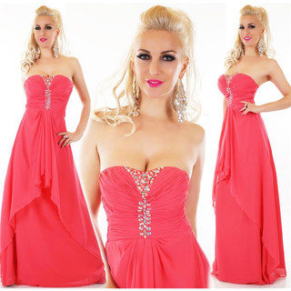 Floor-length bandeau evening dress with chiffon veil coral