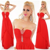 FLOOR-LENGTH BANDEAU EVENING DRESS WITH CHIFFON VEIL RED