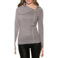 LADIES FINE-KNITTED SWEATER WITH RIVETS AND ZIPPER GREY