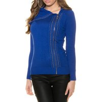 LADIES FINE-KNITTED SWEATER WITH RIVETS AND ZIPPER ROYAL...