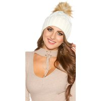 LADIES WINTER CAP HAT WITH REMOVABLE FAKE FUR POMPON...