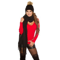 Cuddly soft ladies fleece scarf with fringes black