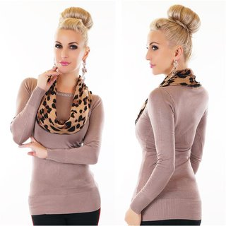 ELEGANT LADIES FINE-KNITTED SWEATER WITH LEO COLLAR CAPPUCCINO