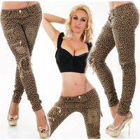 SEXY DAMEN DESTROYED RÖHRENJEANS IN LEOPARD-OPTIK BEIGE