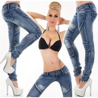 SKINNY LADIES USED LOOK DRAINPIPE JEANS IN BIKER STYLE BLUE
