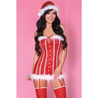 SEXY 3 PCS SANTA BABY CHRISTMAS COSTUME CORSAGE RED/WHITE