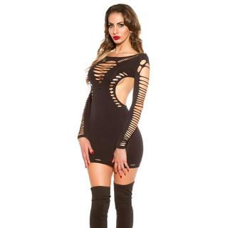 SEXY GOGO STRETCH MINIDRESS WITH CUT-OUTS CLUBWEAR BLACK