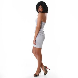 Precious strapless satin dress silver