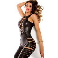 Sexy wet look overall jumpsuit with slits gogo clubbing...