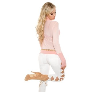 SEXY LADIES LONG-SLEEVED SHIRT MADE OF TRANSPARENT MESH PINK Onesize (UK 8,10,12)
