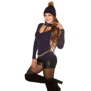 SEXY RIB-KNITTED LADIES SWEATER WITH CHOKER COLLAR NAVY