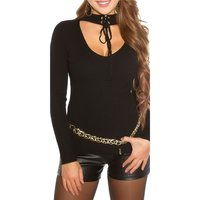 SEXY RIB-KNITTED LADIES SWEATER WITH CHOKER COLLAR BLACK...