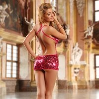 SEXY BACKLESS CLUB MINIDRESS WITH SEQUINS INCL. THONG...
