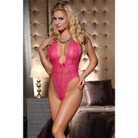 Sexy String-Body Teddy Negligee aus Spitze Dessous Pink...