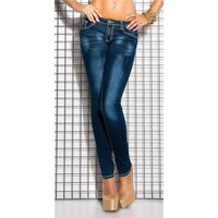 SKINNY LADIES USED LOOK JEANS WITH THICK SEAMS DARK BLUE