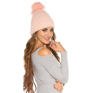 LINED WINTER HAT WITH FAKE FUR BOBBLE ANTIQUE PINK