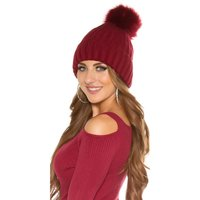 LINED WINTER HAT WITH FAKE FUR BOBBLE WINE-RED