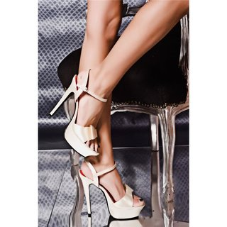 SEXY SATIN PLATEAU-SCHUHE HIGH HEELS CHAMPAGNER
