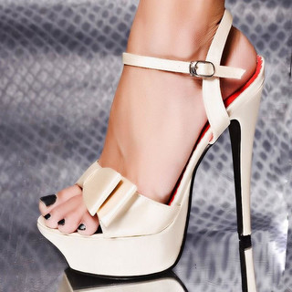 SEXY SATIN PLATFORM SHOES HIGH HEELS CHAMPAGNE