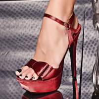 SEXY SATIN PLATFORM SHOES HIGH HEELS RED