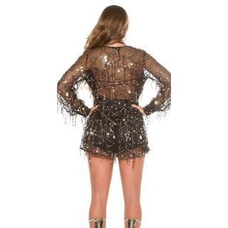 GORGEOUS GLAMOUR PARTY PLAYSUIT OVERALL WITH SEQUINS BLACK