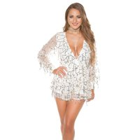 GLAMOUR PARTY CHIFFON PLAYSUIT OVERALL MIT PAILLETTEN CREME