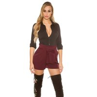 TRENDY LADIES PLEATED PANTS WITH TIE BELT WINE-RED