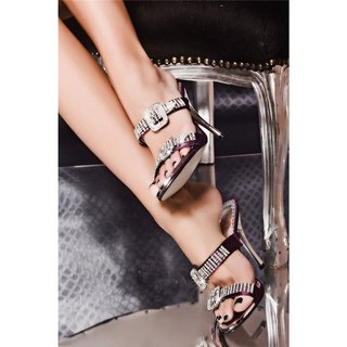 GLAMOUR SANDALS WITH RHINESTONES SATIN PURPLE