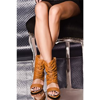 SEXY HIGH HEELS ANKLE BOOTS SHOES WITH METAL BEADS CAMEL