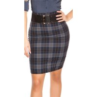 ELEGANT LADIES SQUARE PENCIL SKIRT WITH BELT NAVY