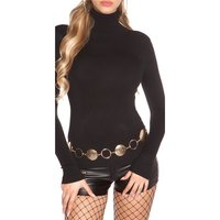 LADIES FINE-KNITTED BASIC SWEATER WITH TURTLE NECK BLACK...