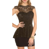 NOBLE GLAMOUR PARTY TOP WITH PEPLUM AND EMBROIDERY GOLD