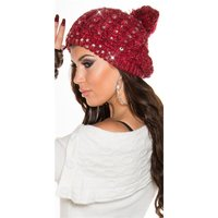 COARSE-KNITTED LADIES WINTER CAP BOBBLE HAT WITH RIVETS...