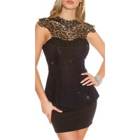 Noble glamour party top with peplum and embroidery navy...