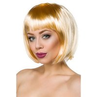 Short ladies bob wig with straight fringe carnival blond