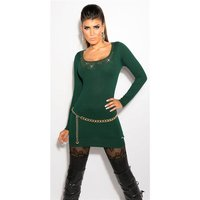 LADIES FINE-KNITTED LONG SWEATER WITH LACE AND RIVETS GREEN