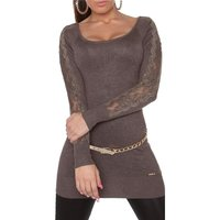 FINE-KNITTED LADIES GLAMOUR LONG SWEATER WITH LACE TAUPE
