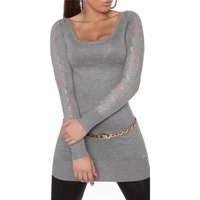 FINE-KNITTED LADIES GLAMOUR LONG SWEATER WITH LACE GREY