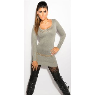 f3c87a0350468b LADIES FINE-KNITTED LONG SWEATER WITH LACE AND RIVETS GREY Onesize (UK 8