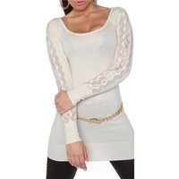 FINE-KNITTED LADIES GLAMOUR LONG SWEATER WITH LACE...