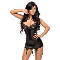 EXCLUSIVE WET LOOK SUSPENDER CHEMISE WITH FINE LACE BLACK