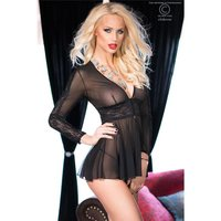 SEXY LANGARM BABYDOLL NEGLIGEE AUS TÜLL INKL. STRING...