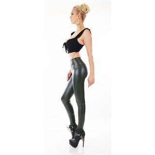 SEXY THERMO GLANZ LEGGINGS MIT FÜTTERUNG WETLOOK OLIVGRÜN