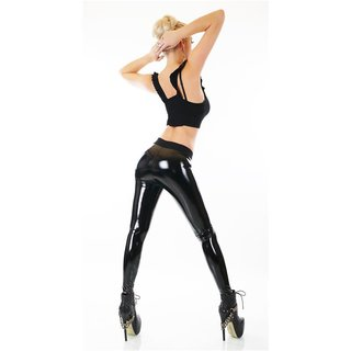 Sexy Latex Leggings Lack-Optik Wetlook Clubwear Schwarz