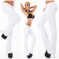 TRENDY LADIES BOOTCUT JEANS WITH BUTTON FLY INCL. BELT WHITE