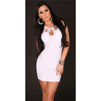 Sexy mini dress party dress with sequins white Onesize...