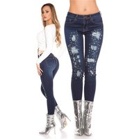 SKINNY LADIES DRAINPIPE JEANS DESTROYED LOOK WITH PEARLS...