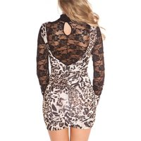SHIMMERING LONG-SLEEVED MINIDRESS WITH LACE AND GATHERS...